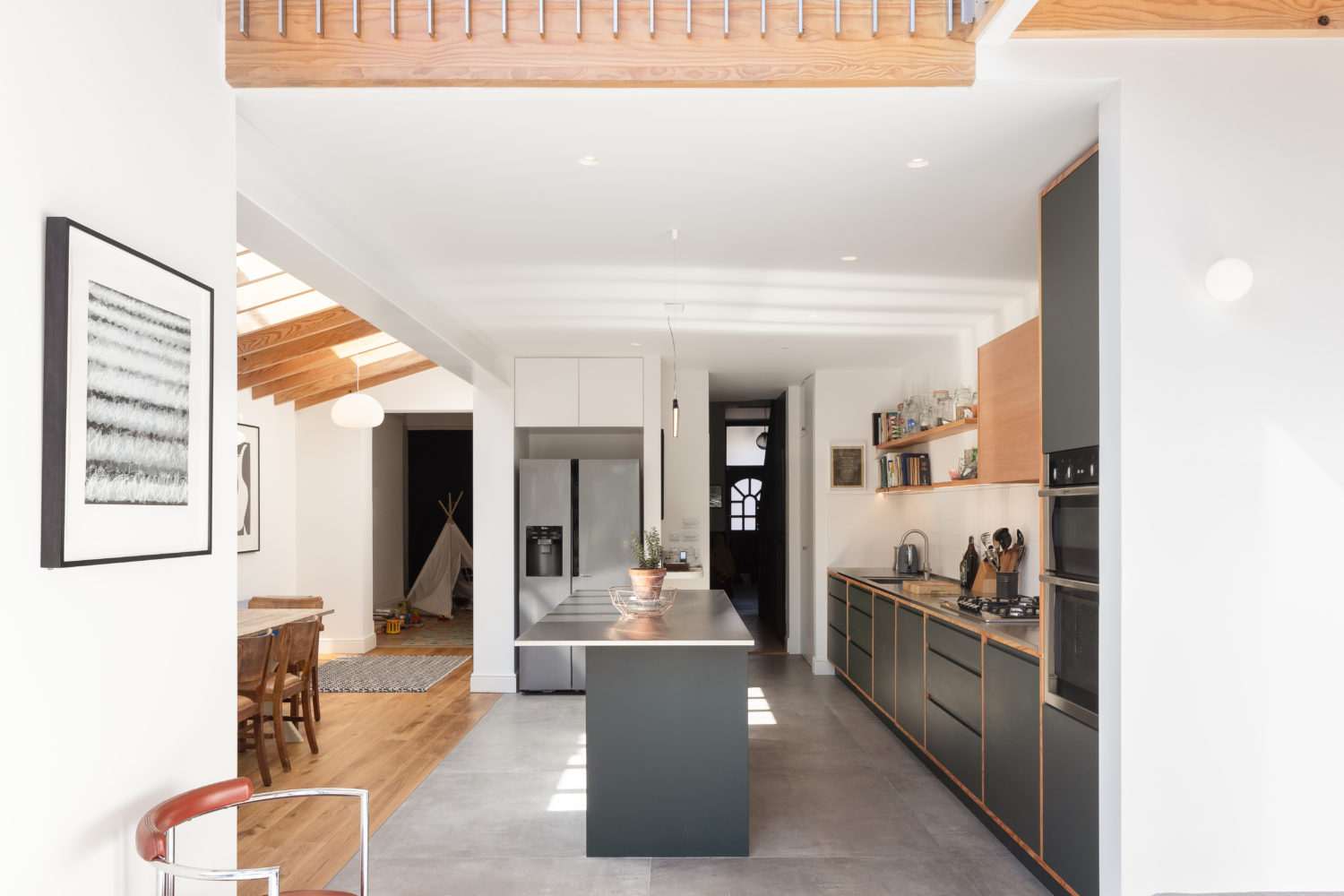 Consort Road- Cooke Fawcett-timberworks-View-back-to-kitchen-study-and-entrance_Credit-Peter-Landers