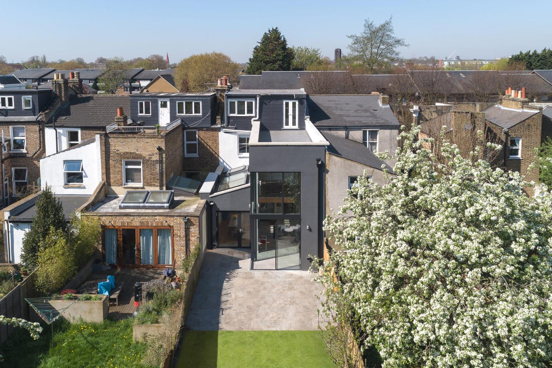 Consort Road- Cooke Fawcett-timberworks_Aerial-of-rear-elevation_Credit-Peter-Landers